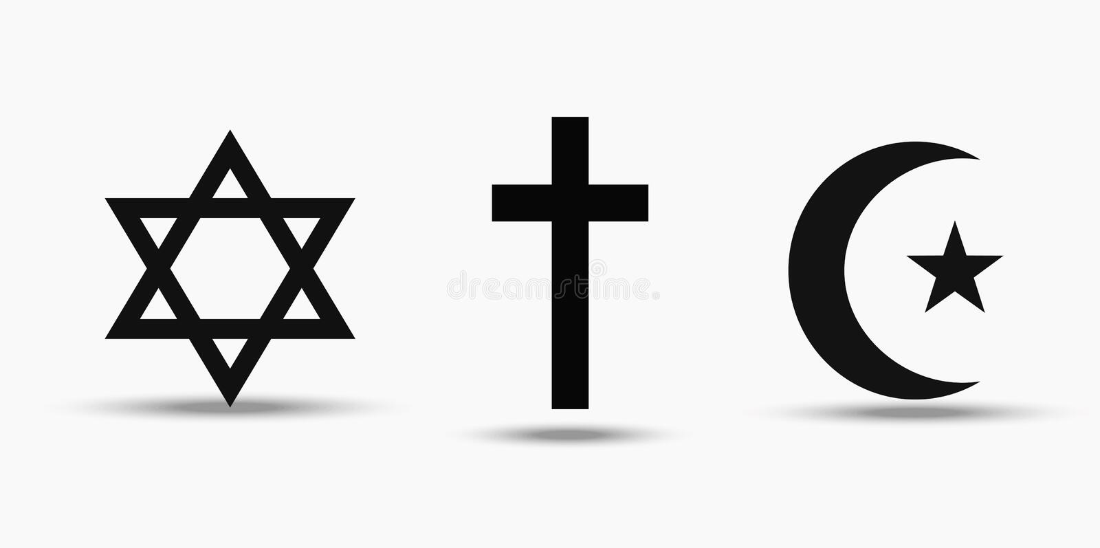 Symbols of the three world religions - Judaism, Christianity and Islam. Isolated on white background royalty free illustration