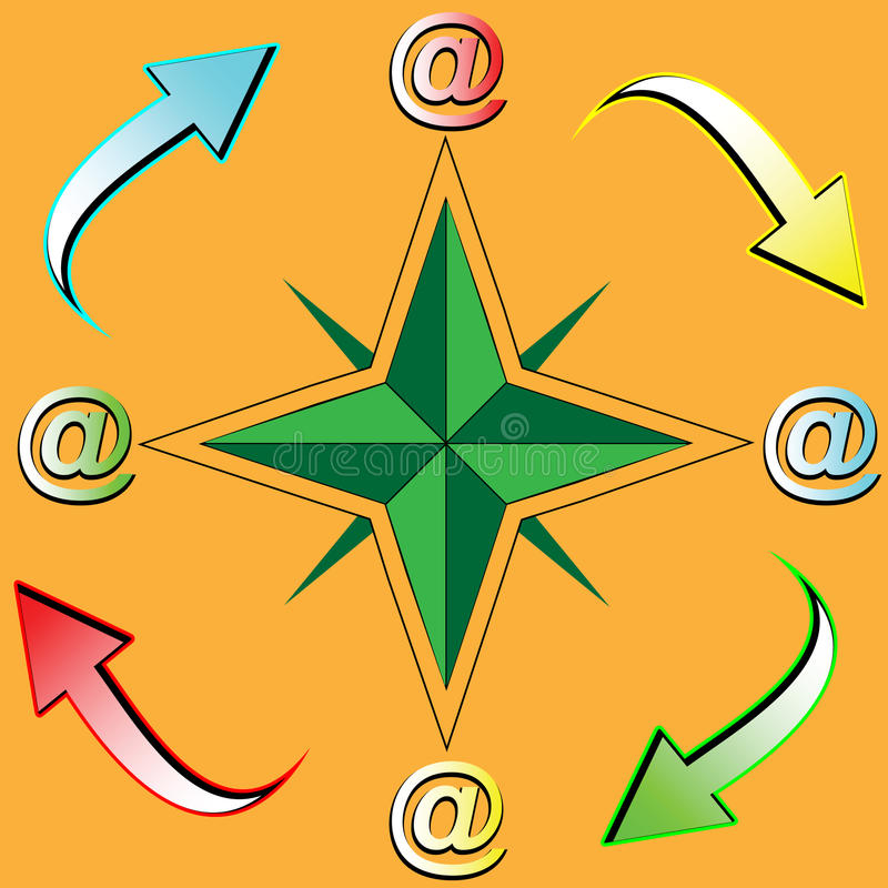 Symbols of travel and e-mail royalty free illustration