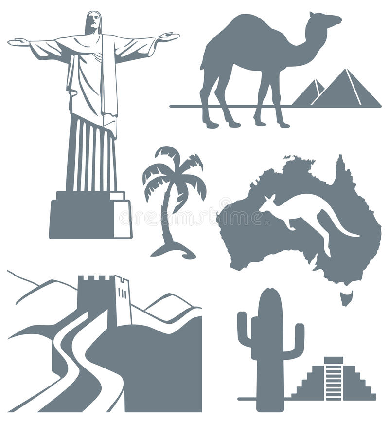 Download Symbols of travel stock vector. Image of brazil, statue - 33102729