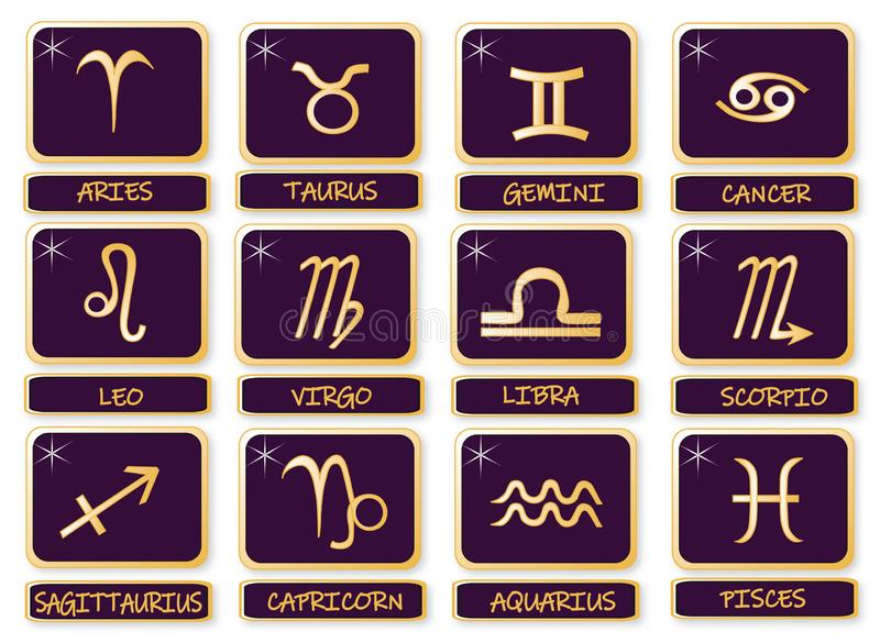 Complete set with sings twelve zodiac.Stickers. vector illustration