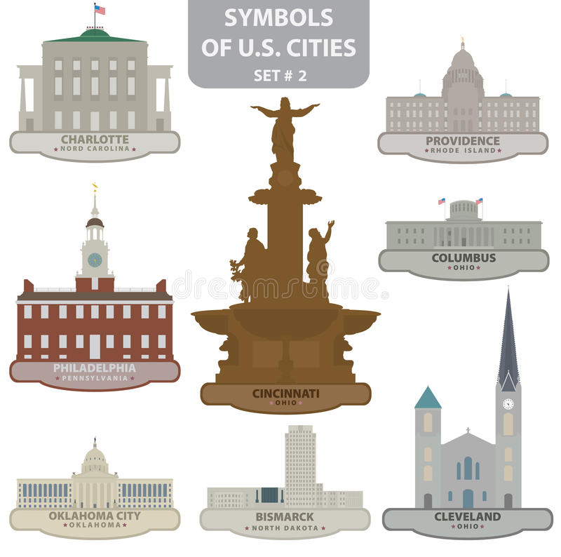 Symbols Of Us Cities Stock Vector Illustration Of Carolina 29443329