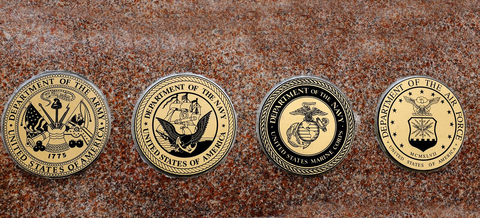 Symbols of USA Military Army Navy Airforce Marines royalty free stock photo