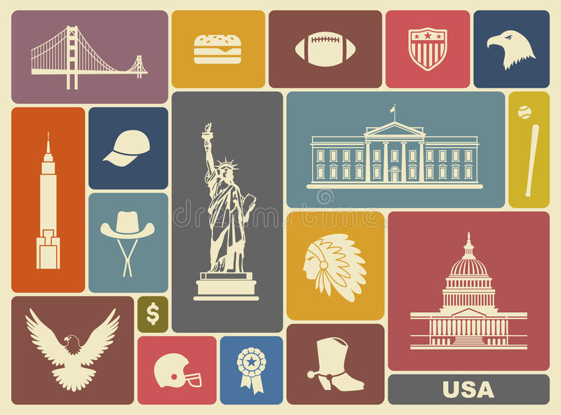 Symbols of the USA. Traditional symbols of architecture and culture of the USA vector illustration
