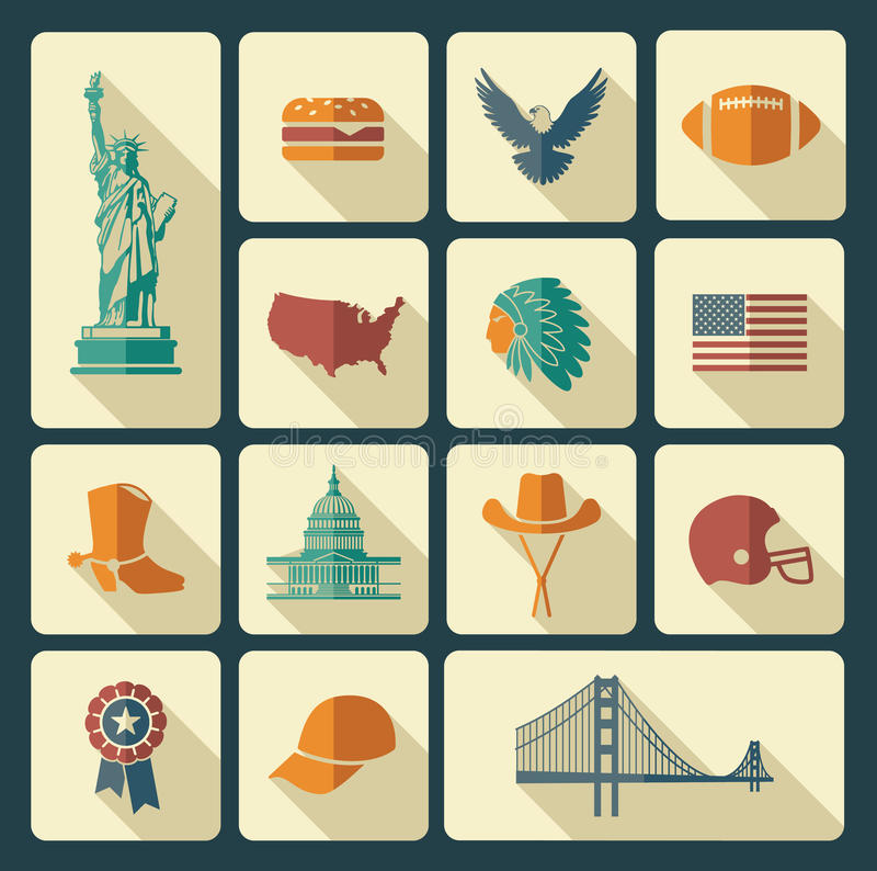 Symbols of the USA. Traditional symbols of architecture and culture of the USA stock illustration