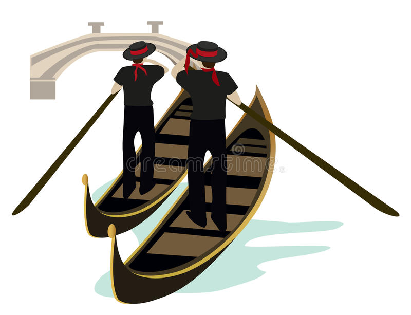 Symbols of Venice. Venice canal view with two gongoliers on gondolas vector illustration