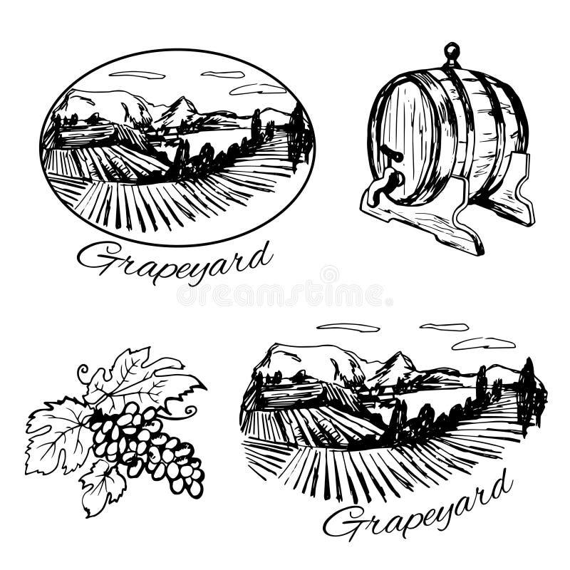 Symbols of vineyard, barrel of wine and grape. Set of symbols of vineyard, barrel of wine and grape royalty free illustration