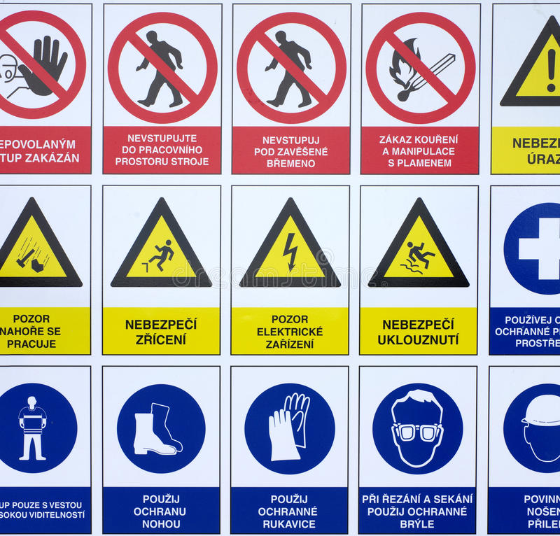 Symbols warning signs construction site. Backgrounds royalty free stock photo