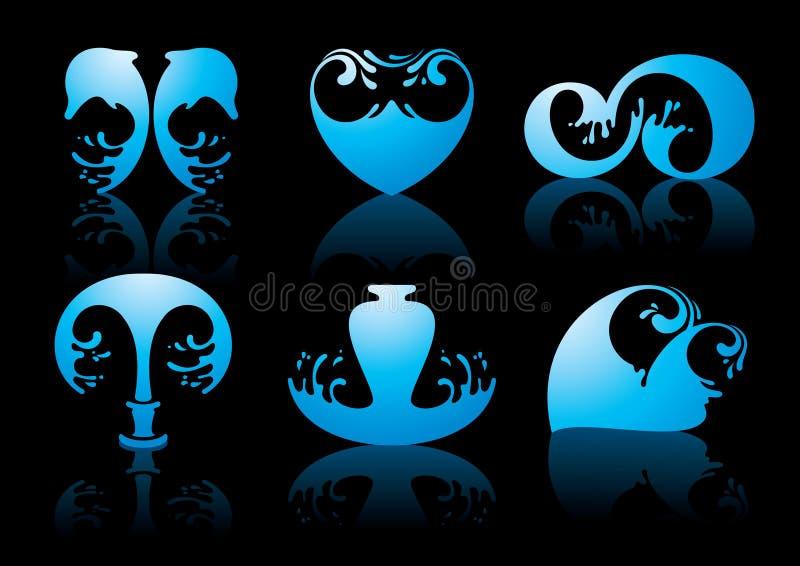 Symbols Of Water Reflection On Black Background Stock Photography