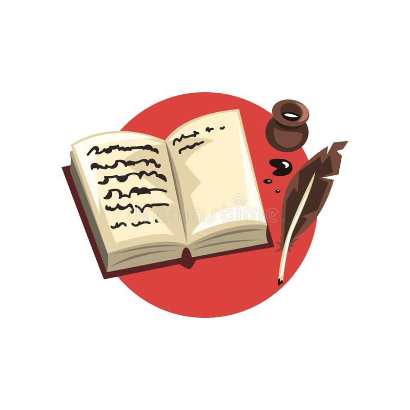 Book With Quill Pen And Scroll Woodcut Stock Illustration