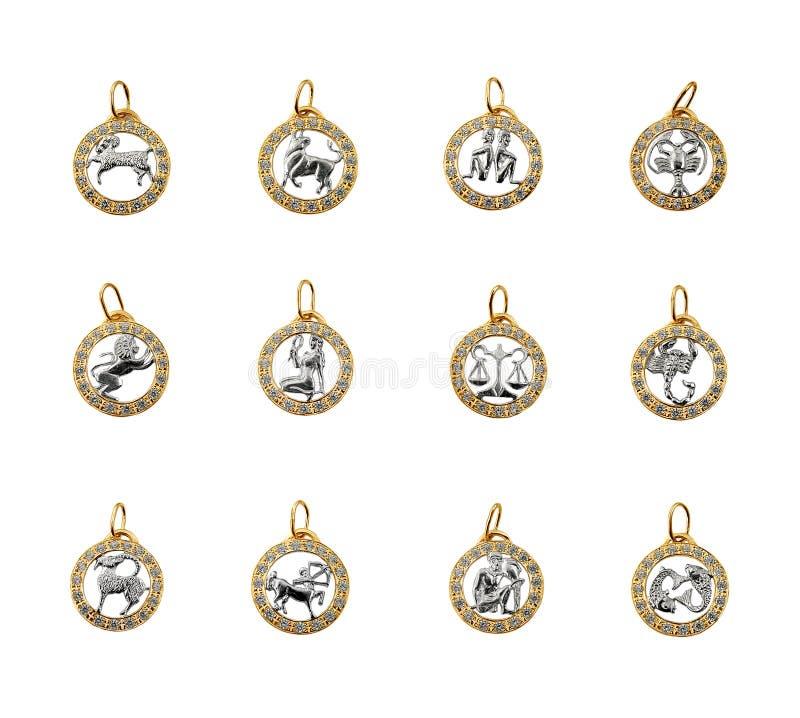 Symbols of the zodiac, horoscope royalty free stock photo