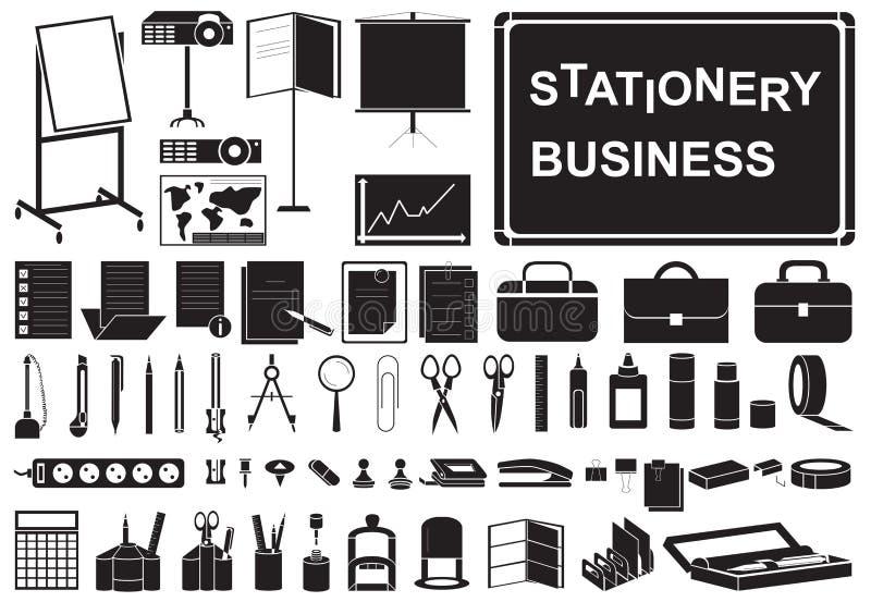 Symbolsaffärsbrevpapper stock illustrationer