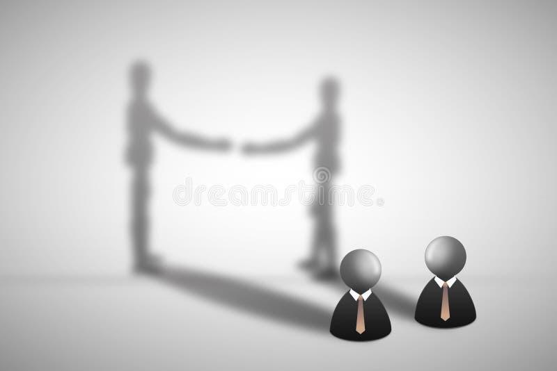 Symbolsanseende för två affärsman på golv med skugga på väggen som skakar handen vektor illustrationer