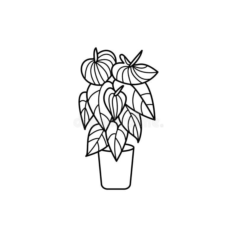 SymbolsAnthurium i en kruka också vektor för coreldrawillustration royaltyfri illustrationer