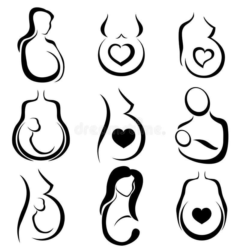 Symbolsatz der schwangeren Frau lizenzfreie abbildung