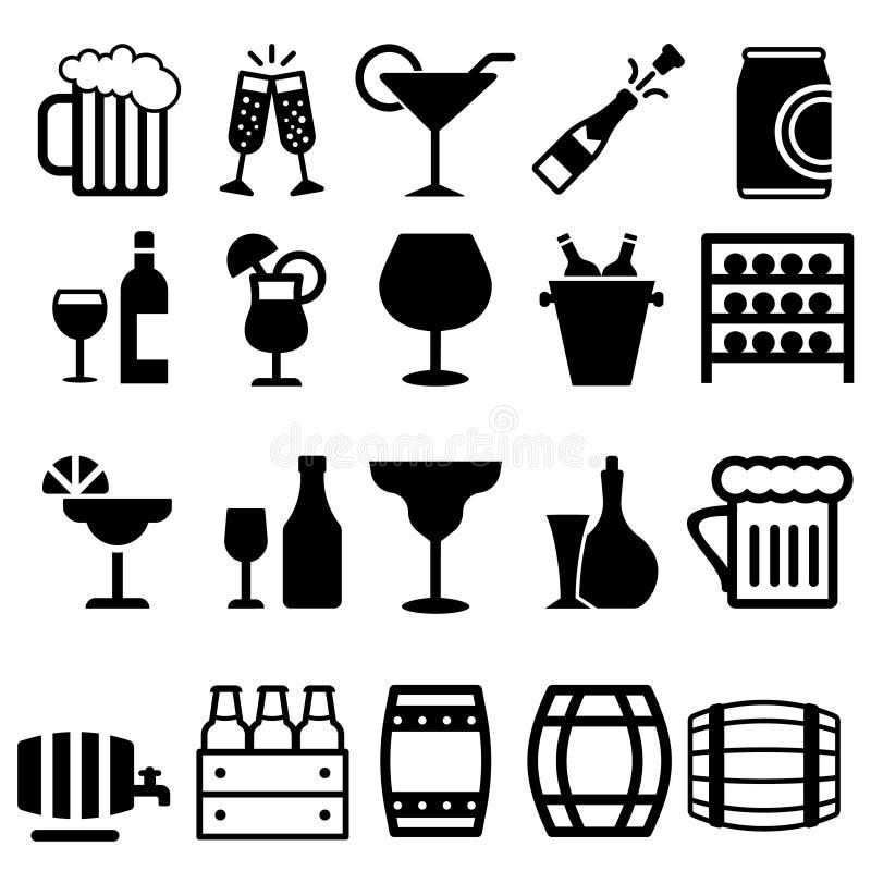 Symbolsatz für alkoholische Getränke Symbol für die Sammlung von Alkoholbildern Glas, Flasche, Barrel-Zeichen oder Logo lizenzfreie abbildung