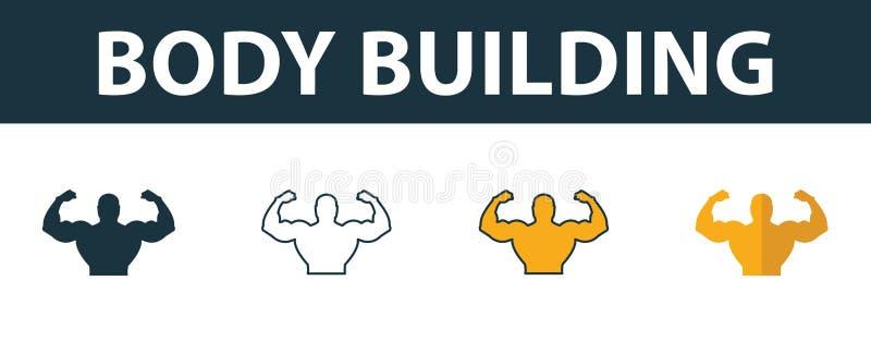 Symbolsatz für Body Building Premium-Symbol in verschiedenen Stilen von der Sammlung von Fitness-Icons Ikone zum Aufbau von Kreat stock abbildung
