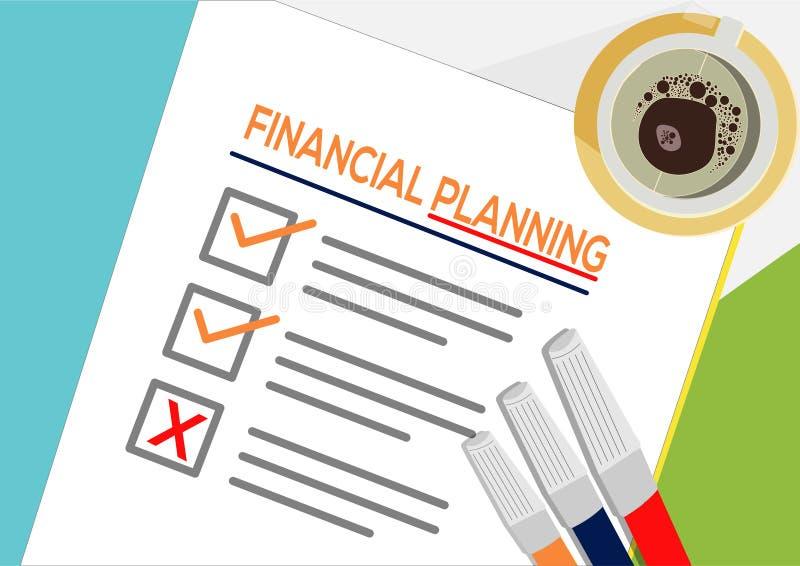 Symbolsbegrepp för finansiell planläggning eller plan En uppgift missade Pappers- ark med kontrollfläckar, abstrakt text och mark stock illustrationer