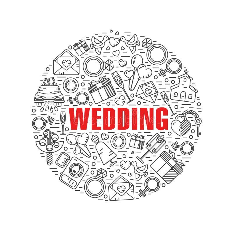 Symbolsbegrepp för rund form av bröllop vektor illustrationer