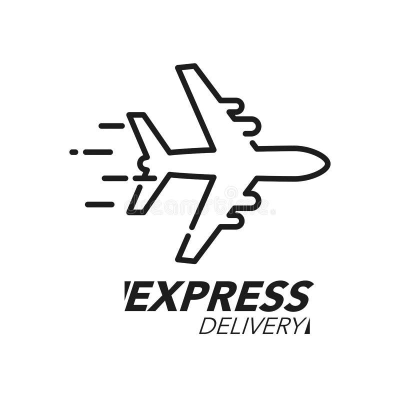 Symbolsbegrepp för uttrycklig leverans Plan hastighetssymbol för för beställning, snabb och världsomspännande sändnings för servi royaltyfri illustrationer
