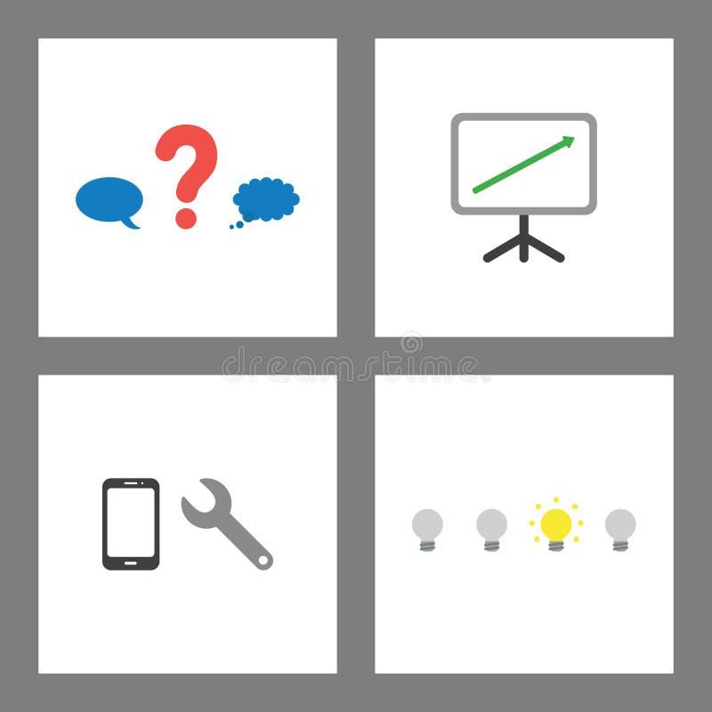 Symbolsbegreppsuppsättning Frågefläcken mellan anförande och tankebubblan, försäljningar kartlägger upp, reparationssmartphone oc vektor illustrationer