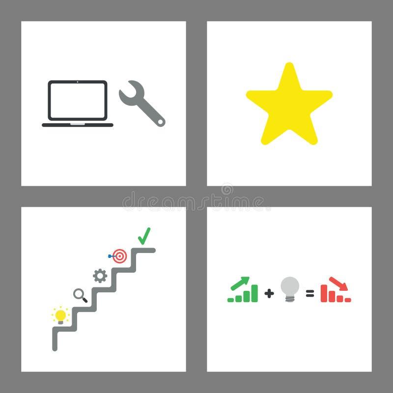 Symbolsbegreppsuppsättning Skruvnyckeln och bärbara datorn, stjärnaform, framgångtrappa, försäljningar kartlägger med dålig idé,  stock illustrationer