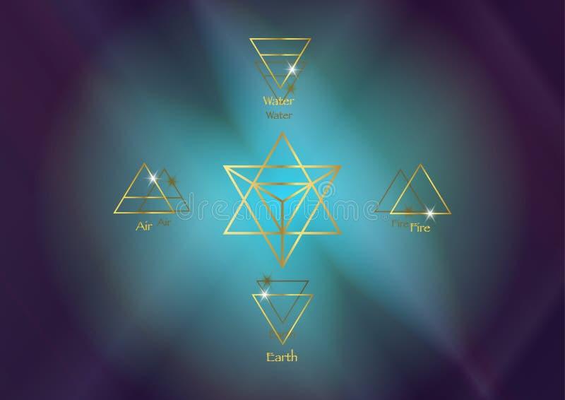 Symbolsbeståndsdelar: Tetrahedron för vatten för luftjordbrand och Merkaba stjärna, Wiccan spådomsymboler Forntida ockulta guld-  vektor illustrationer