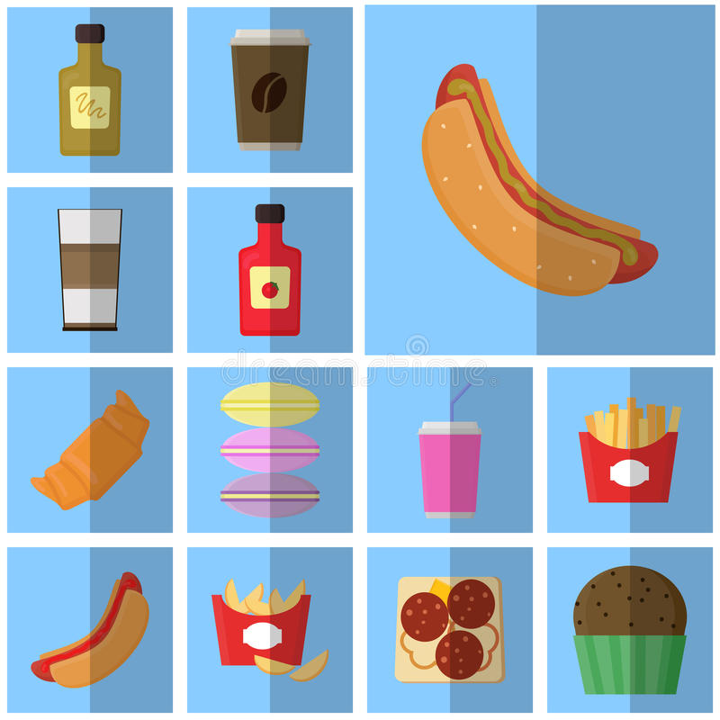 Symbolsblått sänker snabbmat enkel vektorsymbol med den skuggamat och drinken Symbolsvarmkorv med senap stock illustrationer