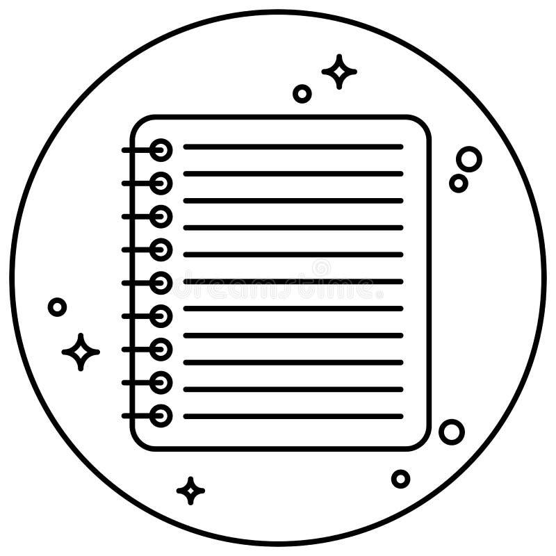 Symbolsbrevpapper Anteckningsbok inom cirkeln Design för websites och olika grejer royaltyfri illustrationer