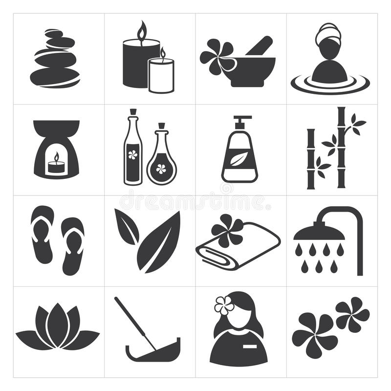 Symbolsbrunnsort och massage vektor illustrationer