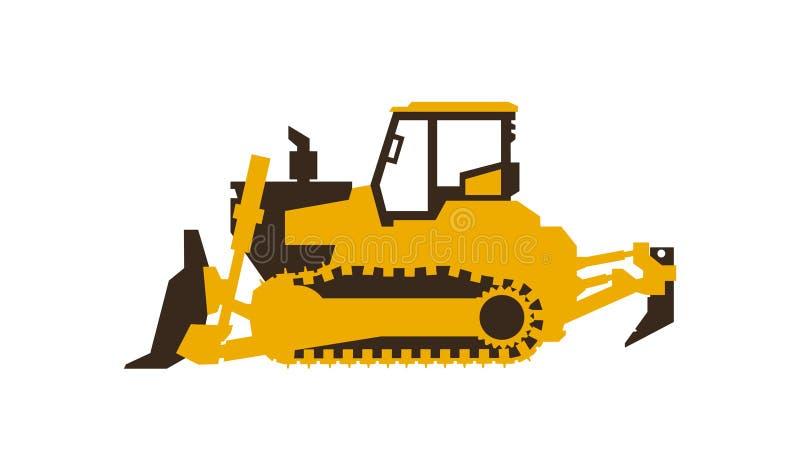 Symbolsbulldozer white för objekt för maskineri för bakgrundskonstruktion grävskopa isolerad också vektor för coreldrawillustrati vektor illustrationer