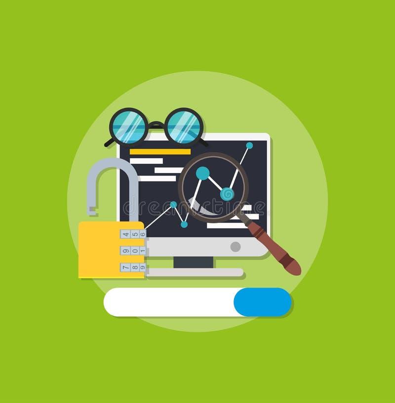 Symbolschlüsselwörter optimieren digitales Linkzeichen WWW-Schnittstellensuchdaten-Kundenfahne SEO-Wortergebnisnetzmaschinen-Proj lizenzfreie abbildung