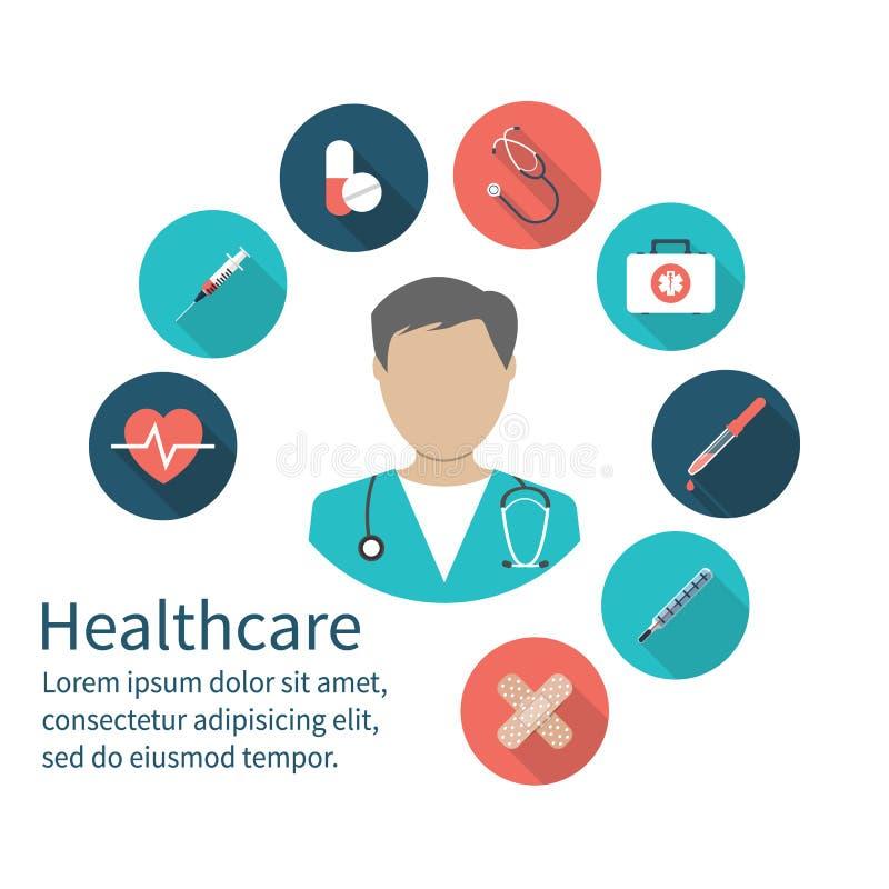 Symbolsdoktor MEDICINSKT begrepp Nöd- doktor med medicinsk equi stock illustrationer