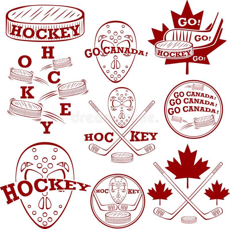 Symbolset canadense do hóquei ilustração do vetor