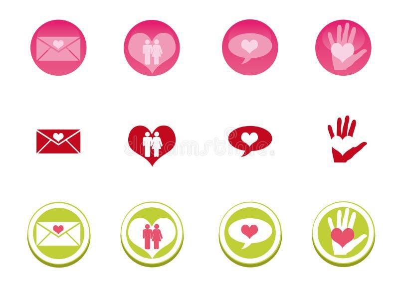 symbolsförälskelseset vektor illustrationer