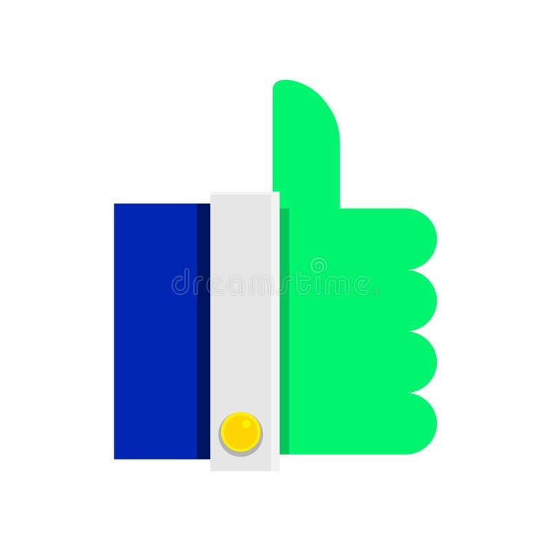 Symbolsfinger upp syrlig grön färg Pictogram i plan stil vektor vektor illustrationer