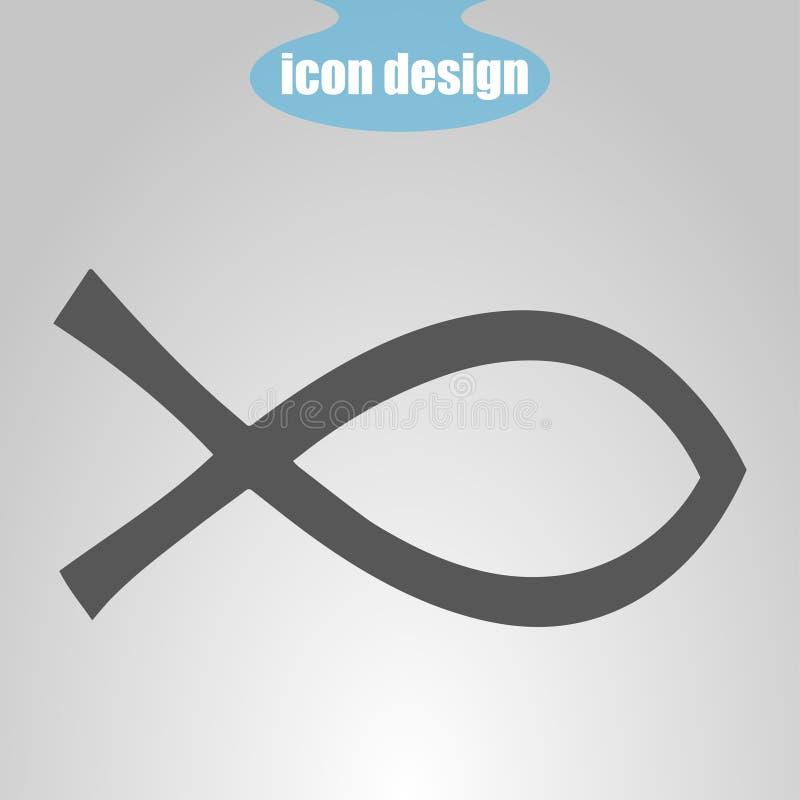 Symbolsfisk på en grå bakgrund också vektor för coreldrawillustration Kristendomentecken royaltyfri illustrationer