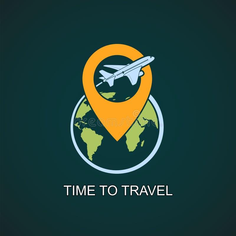 Symbolsflygplanet flyger runt om jordplaneten royaltyfri illustrationer