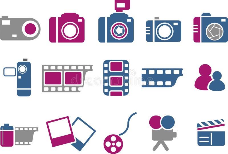 symbolsfotoset vektor illustrationer