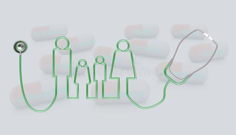 symbolsillustration för stetoskop 3d och familj royaltyfri illustrationer