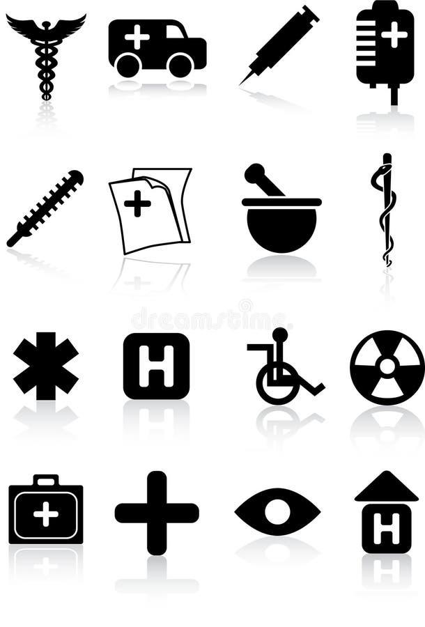 symbolsläkarundersökningset vektor illustrationer