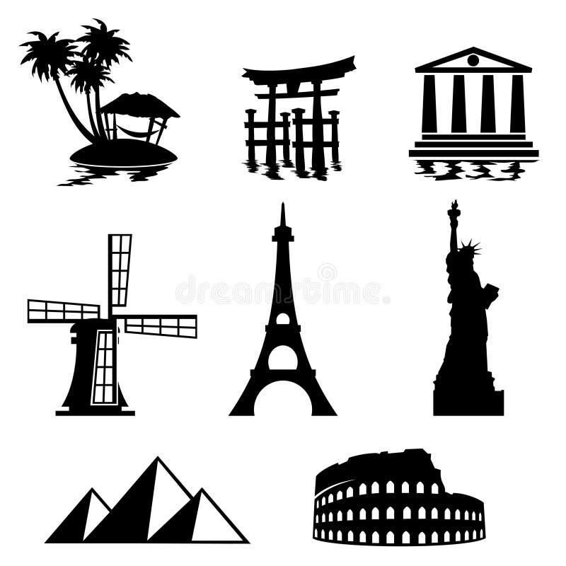 symbolslandmark stock illustrationer