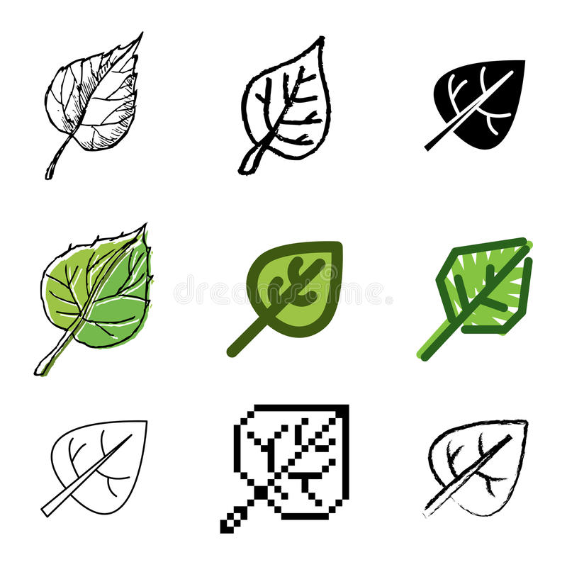 symbolsleafset vektor illustrationer