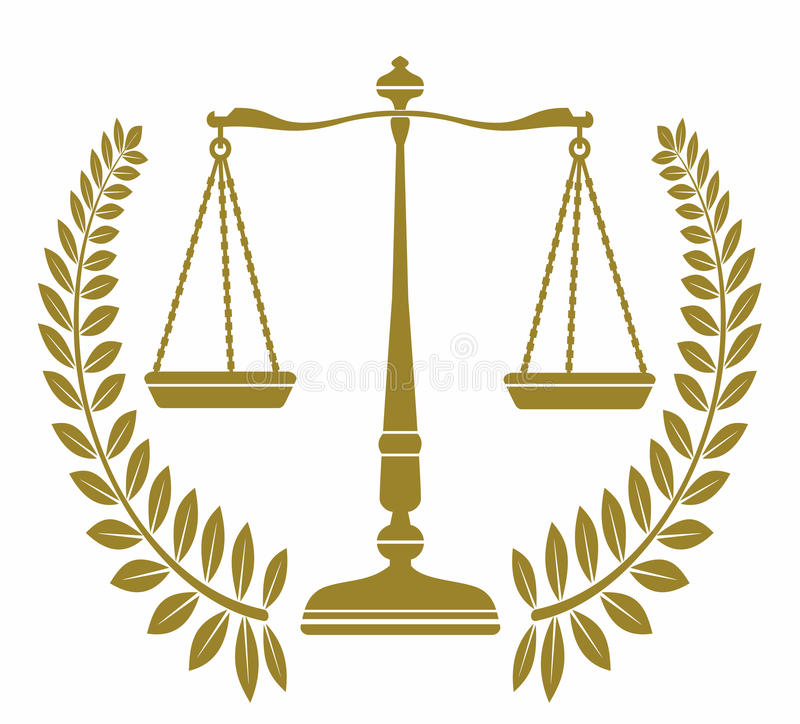 Symbolslibra med lagerkransen rättvisa stock illustrationer