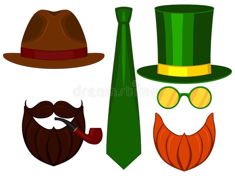 Symbolslinje mustasch för glasess för hatt för uppsättning för beståndsdelar för avatar för dag för farsa för fader för konstaffi royaltyfri illustrationer