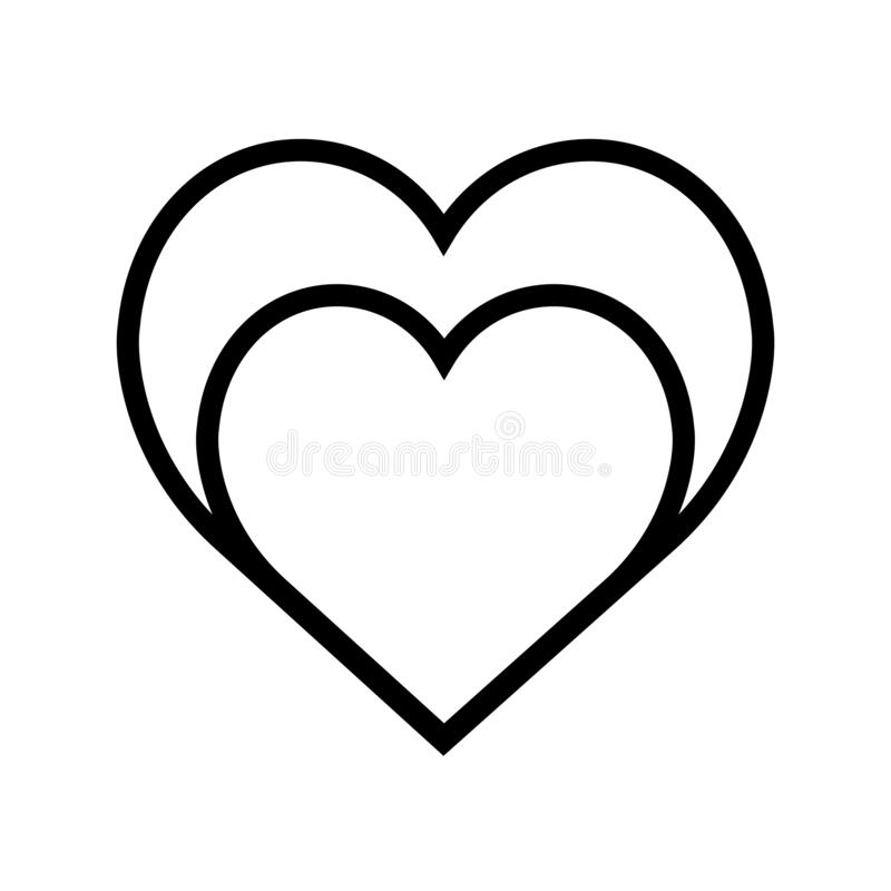 Symbolslinje mycket enkel stil för två hjärtor stock illustrationer