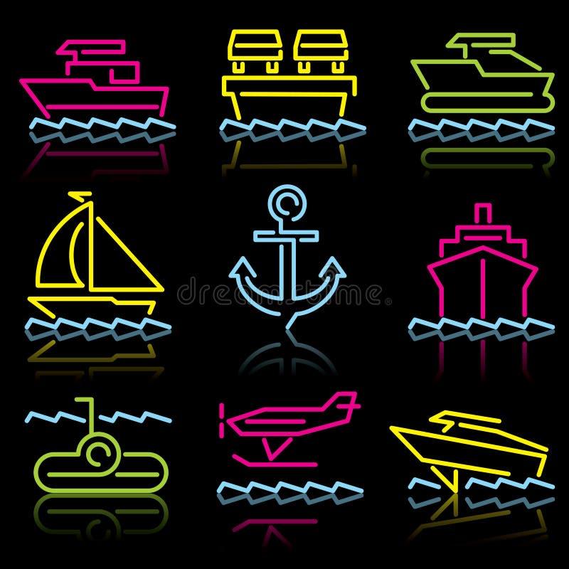 symbolslinje trans.-vatten royaltyfri illustrationer