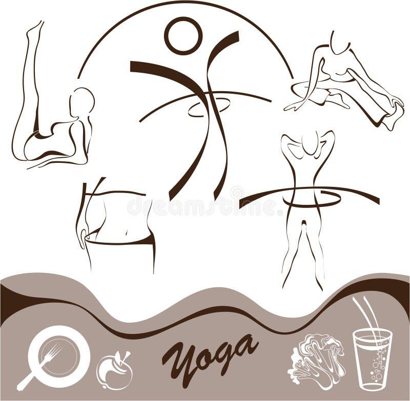 symbolslogoer ställde in vektoryoga stock illustrationer