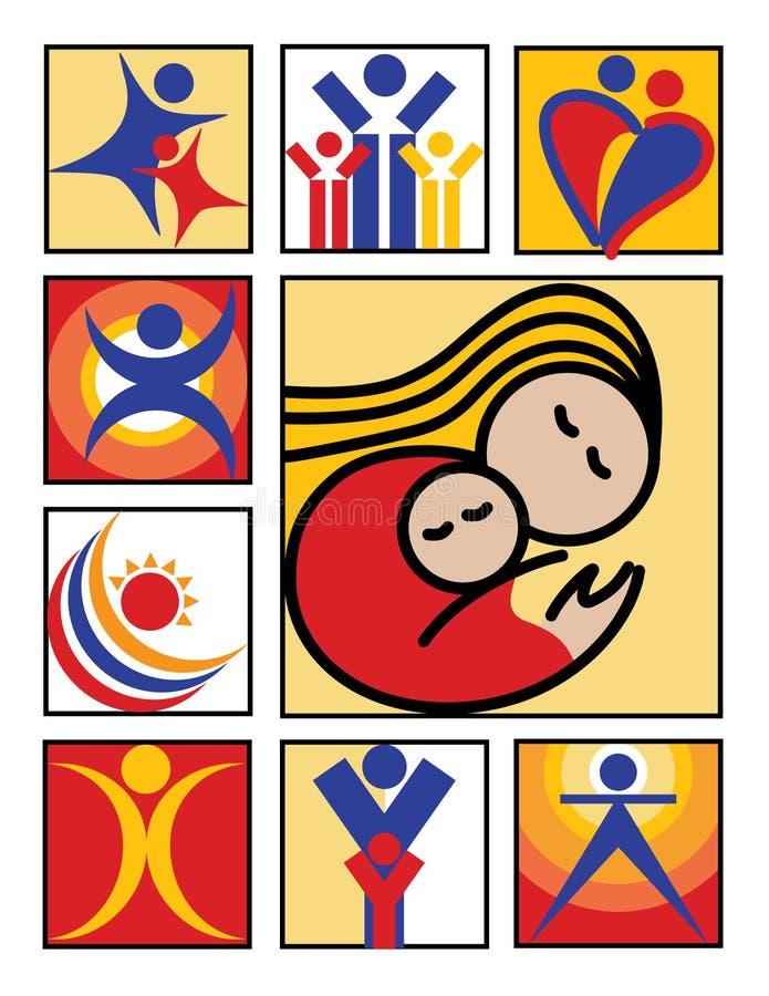 symbolslogofolk royaltyfri illustrationer