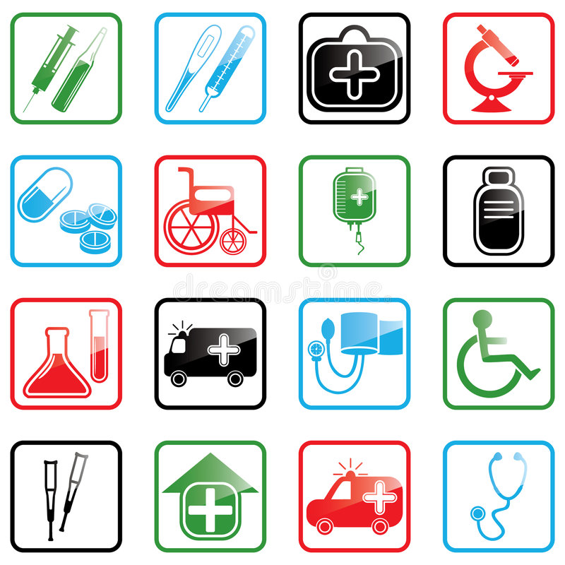 symbolsmedicinset stock illustrationer