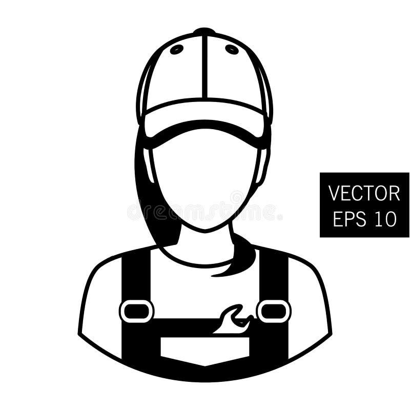 Symbolsmekaniker Reparationsflickaavatar Bilreparation Stil för symbolslägenhetcirkel tjock översikt royaltyfri illustrationer
